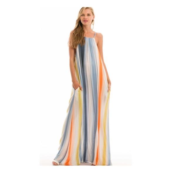 e49d4323d5e Rainbow Halter Top Maxi Dress